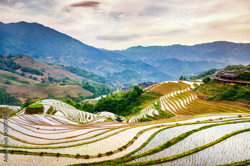 In de dag Asia land Asian rice terrace scenery at sunset