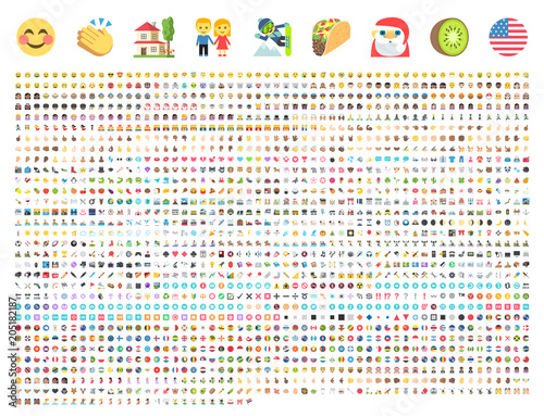 Fotografie, Obraz  All type of emojis, emoticons flat vector illustration symbols