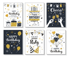 Happy Birthday Greeting Card And Party Invitation Templates, Vector Illustration, Hand Drawn Style, Black And Gold Colors.