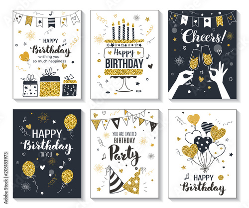Photo  Happy birthday greeting card and party invitation templates, vector illustration, hand drawn style, black and gold colors