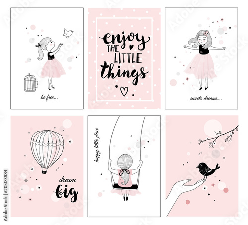 Cute little girl with bird and quotes, posters for baby room