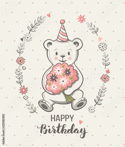 Cute Little Bear Cartoon Vector Illustration Happy Birthday Greeting Card Posters For Baby