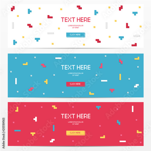 Photo  Vector cyber Tetris figure abstract background design.