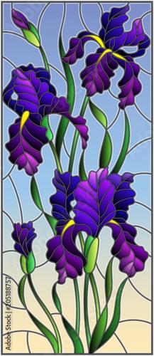 ilustracja-w-stylu-witrazu-z-fioletowy-bukiet-irysow-kwiaty-paki
