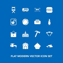 Modern, Simple Vector Icon Set On Blue Background With Religious, Seafood, Farming, Transport, Road, Speed, Spanner, Water, Package, Jump, Parachute, Cardboard, Wrench, Architecture, Building Icons