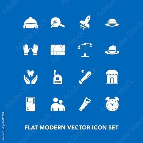 Fotografie, Tablou  Modern, simple vector icon set on blue background with healthy, construction, he