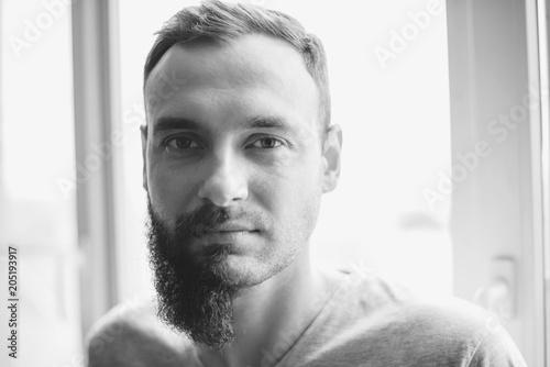 Fine Handsome Man Half Beard Standing In Front Of White Background With Schematic Wiring Diagrams Amerangerunnerswayorg
