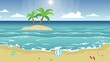 Landscape of beach with ball animation
