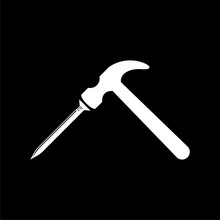 Hammer And Nail Icon On Dark Background