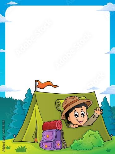 Foto op Canvas Voor kinderen Scout in tent theme frame 1