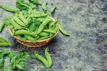Peas Green. Selective Focus.
