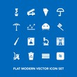 Modern, simple vector icon set on blue background with food, send, umbrella, transportation, post, biology, snack, room, research, waste, weather, window, sweet, shopping, recycle, burger, stamp icons