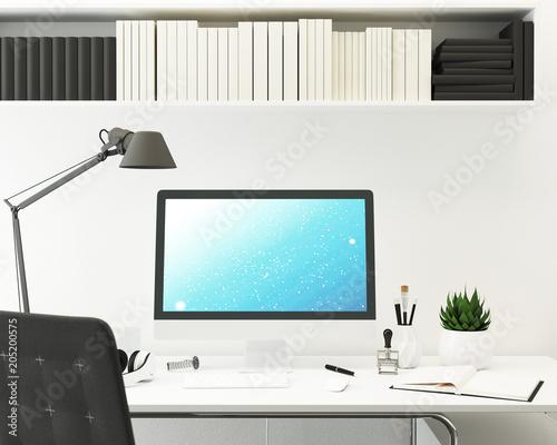 Fényképezés  Computer Monitor Mockup. Blick auf Schreibtisch