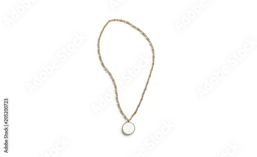 Blank white golden pendant round mockup top view isolated, 3d