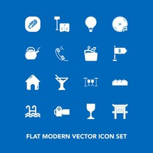 Modern, Simple Vector Icon Set On Blue Background With Sky, Cocktail, Extreme, Sofa, Parachuting, Pool, Real, Business, Bed, Album, Technology, House, Parachute, Japanese, Torii, Furniture, Sign Icons