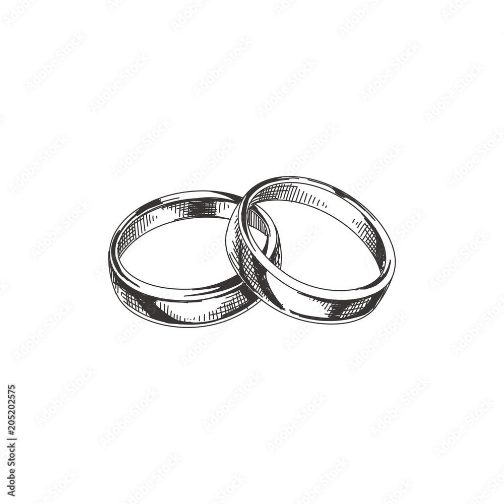 Fototapeta Beautiful vector hand drawn wedding rings Illustration.