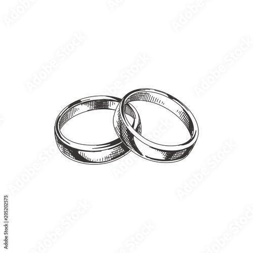 Obraz Beautiful vector hand drawn wedding rings Illustration. - fototapety do salonu