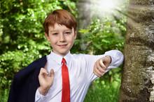 Outdoor Portrait Of Boy Going ...