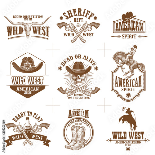 Photo wild west logos vector collection