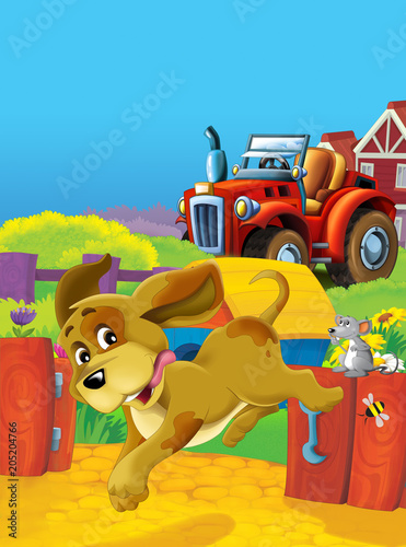 Fotobehang Boerderij cartoon happy and funny farm scene with tractor - car for different tasks - illustration for children