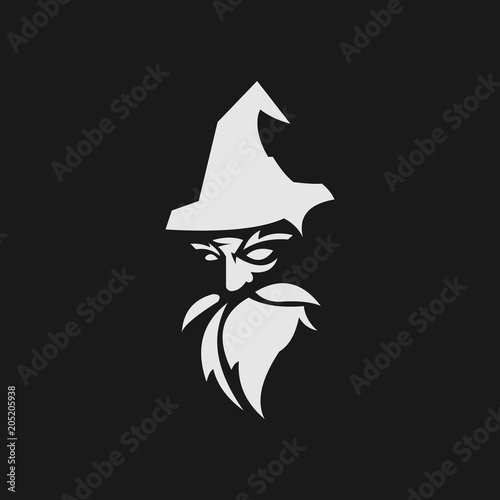 old wise black wizard vector Wallpaper Mural
