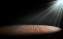 Light On Wooden Floor In Empty Room. 3d Rendering