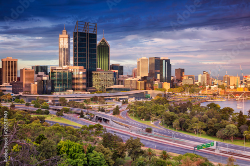 Staande foto Oceanië Perth. Cityscape image of Perth skyline, Australia during sunset.