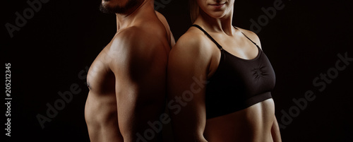 Fotografia, Obraz  Fitness workout couple with perfect upper bodies