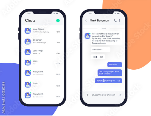 Mobile UI UX Design Concept. Trendy Chatbot Application with Dialogue window. Chat Box. Sms Messenger Application. Vector EPS 10