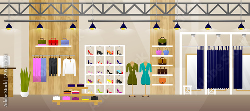 Fotomural Fashion Shop Interior Clothes Store Banner With Copy Space Flat Vector Illustrat