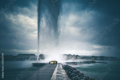 Stampa su Tela Geneva fountain under the rain in Geneva City Center, Switzerland