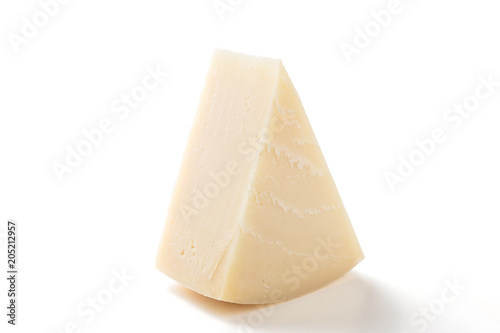 Fresh Piece of Cheese on white background .