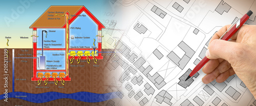 Fényképezés The danger of radon gas in our homes - concept illustration with hand drawing ov