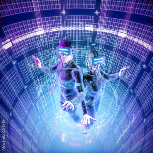Virtual reality datasphere teamwork / 3D illustration of male and female figures Poster