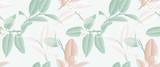 Wzór, ręcznie rysowane pastelowe zielone, brązowe i białe kwiaty limonki i liści na jasnozielonym tle - 205216986