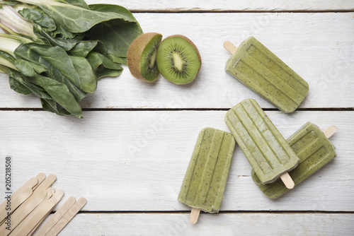 Popsicle made from kiwi and chard
