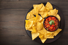 Mexican Salsa Dip And Nachos T...