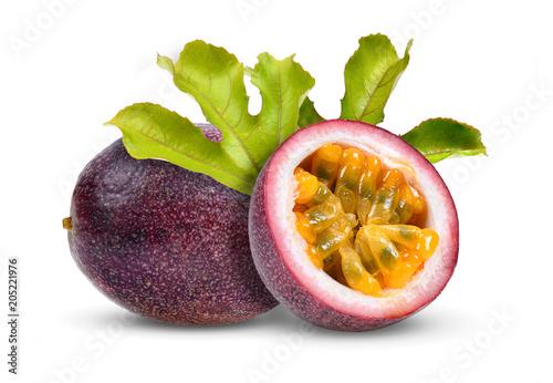 Fotografie, Obraz  passion fruit with leaf on white background