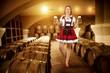 Bavarian woman and barrels