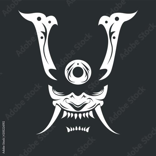 Fotografie, Obraz  Raster drawing of a white demon samurai mask on a black background
