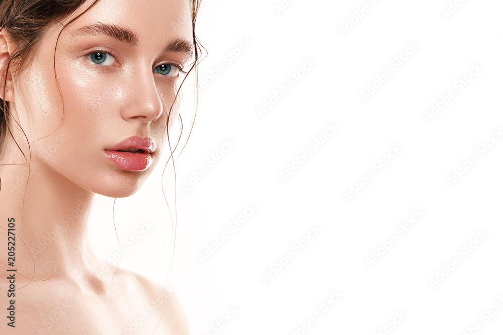 Fototapety, obrazy: Beautiful woman portrait with fresh wet skin.