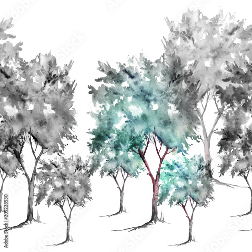 bezszwowe-granica-liniowy-akwarela-rysowanie-krajobrazu-lasu-drzew-krzewow-las