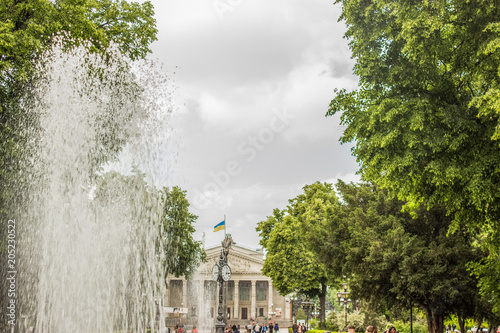 Poster de jardin Paris city old center with fountain and opera house