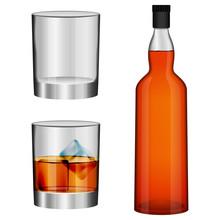 Whisky Bottle Glass Imockup Set. Realistic Illustration Of 3 Whisky Bottle Glass Vector Mockups For Web