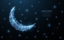 Vector Crescent Moon. Abstract Polygonal Wireframe On Dark Blue Night Sky Background. Night Symbol. Arabic, Islamic, Muslim, Ramadan Design