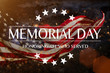 canvas print picture American flag with the text Memorial day.