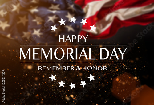 American flag with the text Memorial day. Tableau sur Toile