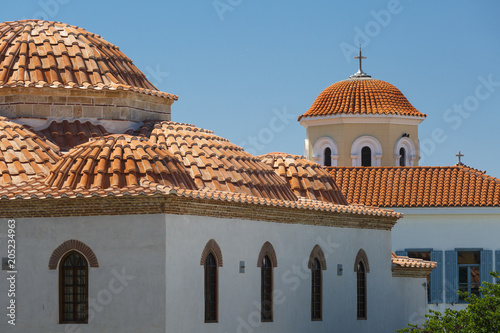 Spoed Foto op Canvas Mediterraans Europa Mosque and Greek orthodox church .