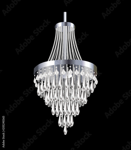 Fotografía illustration of a chandelier with crystal pendants on the black