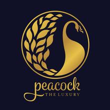 Gold Peacock Luxury Circle Log...
